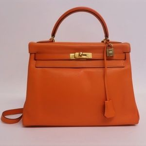 Hermes Kelly 32 Retourne Swift Leather Gold HW